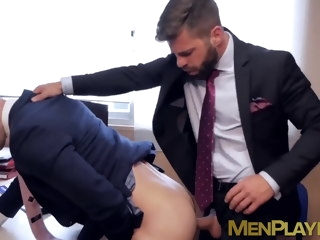 Hot stud in classy jacket slamming coworkers tight ass