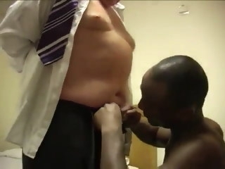 Young black man sucks white daddy